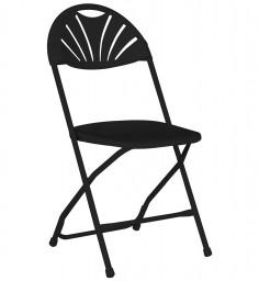 Fanback Folding Chair-Black