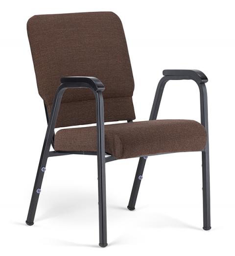"Bertolini-Hybrid Arm Chair Espresso & Black with 20"" Seat"